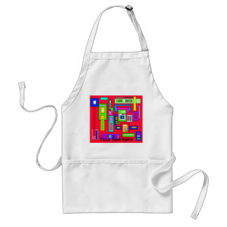 Multicolored squares and rectangle pattern on red adult apron