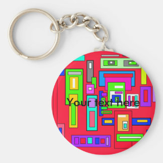 Multicolored squares and rectangle pattern on red basic round button keychain