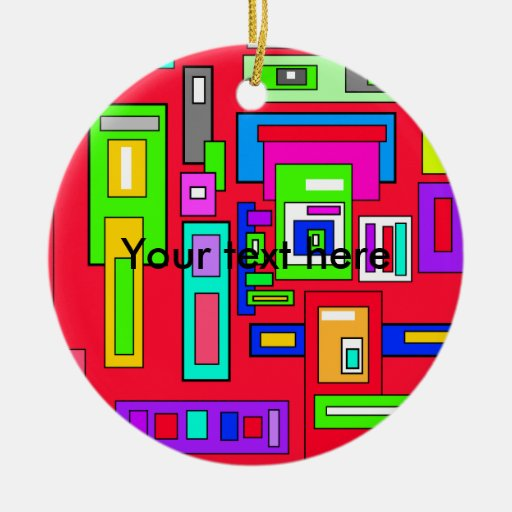 Multicolored squares and rectangle pattern on red Double-Sided ceramic round christmas ornament