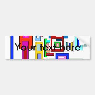 Multicolored squares and rectangles car bumper sticker