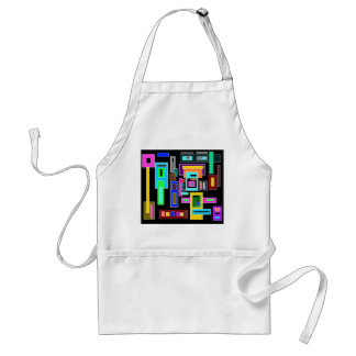 Multicolored squares and rectangles on black adult apron