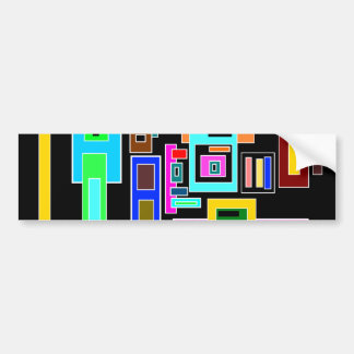 Multicolored squares and rectangles on black car bumper sticker