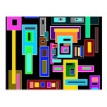 Multicolored squares and rectangles on black postcard