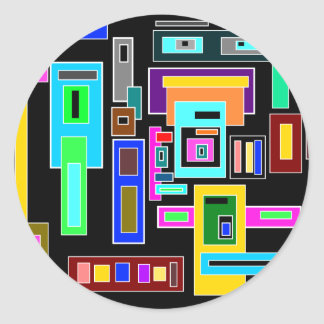 Multicolored squares and rectangles on black classic round sticker
