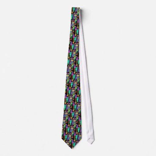 Multicolored squares and rectangles on black necktie