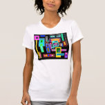 Multicolored squares and rectangles on black shirts
