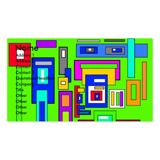 Multicolored squares and rectangles on green business card
