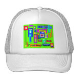 Multicolored squares and rectangles on green mesh hats