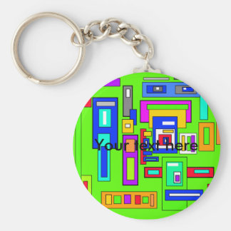 Multicolored squares and rectangles on green basic round button keychain