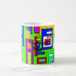 Multicolored squares and rectangles on green mugs