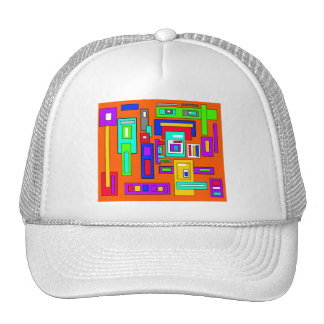 Multicolored squares and rectangles on orange trucker hat