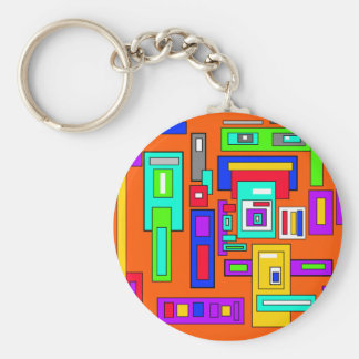 Multicolored squares and rectangles on orange basic round button keychain