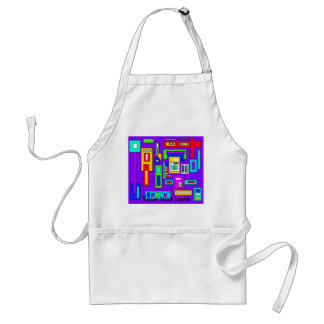 Multicolored squares and rectangles on purple adult apron