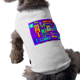 Multicolored squares and rectangles on purple doggie shirt