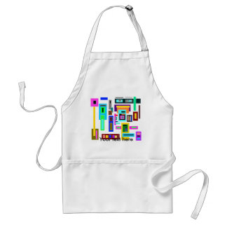 Multicolored squares and rectangles on white adult apron