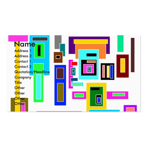 Multicolored squares and rectangles on white Double-Sided standard business cards (Pack of 100)