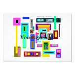 Multicolored squares and rectangles on white 5x7 paper invitation card