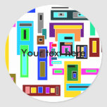 Multicolored squares and rectangles on white classic round sticker