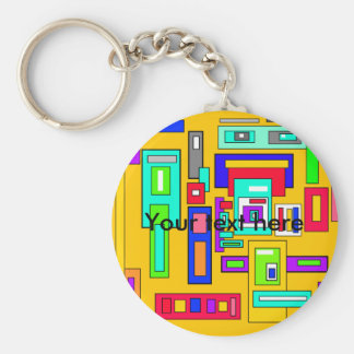 Multicolored squares and rectangles on yellow basic round button keychain