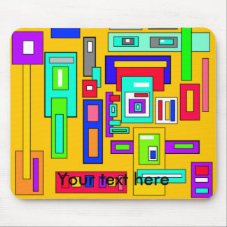Multicolored squares and rectangles on yellow mouse pad