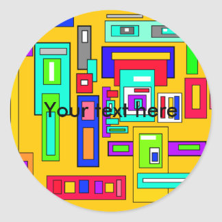 Multicolored squares and rectangles on yellow classic round sticker