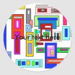 Multicolored squares and rectangles round stickers