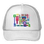 Multicolored squares and rectangles trucker hat