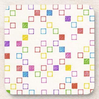 Multicolored Squares Beverage Coaster