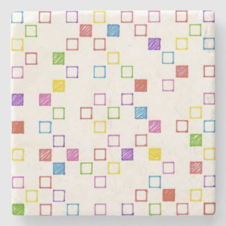 Multicolored Squares Stone Coaster