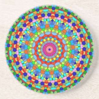 Multicolored Stained Glass Kaleidoscope Coaster