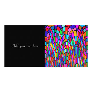 Multicolored Stained Glass Mosaic Abstract Art Custom Photo Card