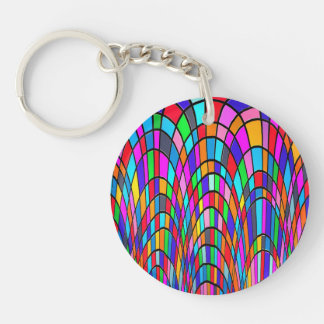 Multicolored Stained Glass Mosaic Abstract Art Single-Sided Round Acrylic Keychain