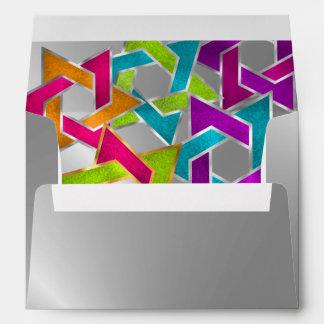 Multicolored Star of David Silver Envelope