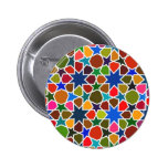 Multicolored Star Pattern - Silk Painting inspired 2 Inch Round Button
