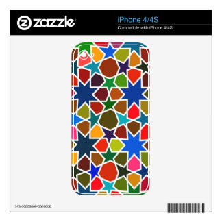 Multicolored Star Pattern - Silk Painting inspired iPhone 4S Decals