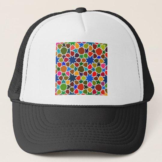 Multicolored Star Pattern - Silk Painting inspired Trucker Hat
