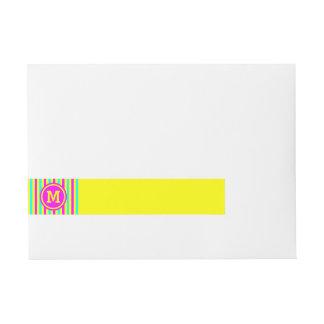 Multicolored Stripe Yellow Monogram Wrap Around Address Label