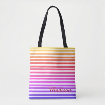 Beach Themed Multicolored Striped Beach Personalized Yellow Red Tote Bag
