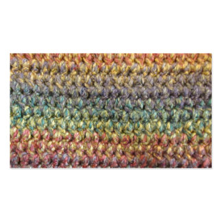 Multicolored striped knitted crochet business cards
