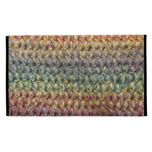 Multicolored striped knitted crochet iPad folio cases