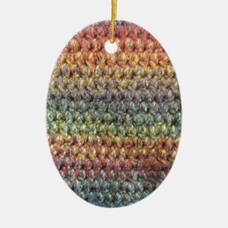 Multicolored striped knitted crochet ceramic ornament
