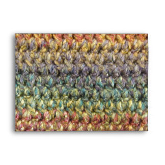 Multicolored striped knitted crochet envelope