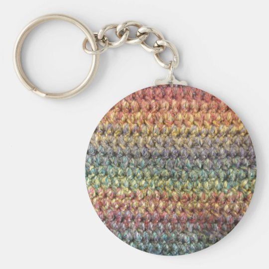 Multicolored striped knitted crochet keychain