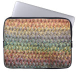 Multicolored striped knitted crochet laptop sleeve