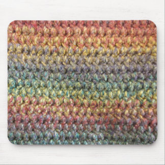 Multicolored striped knitted crochet mouse pad