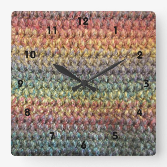 Multicolored striped knitted crochet square wall clock