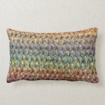 Multicolored striped knitted crochet throw pillow