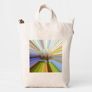 Multicolored Stripes Autumn Tree Art Duck Bag