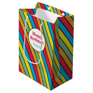 Multicolored Stripes Happy Birthday Personalized Medium Gift Bag