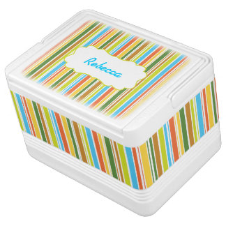 Multicolored Stripes & Personalized Igloo Ice Chest